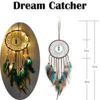 LED Light Dream Catcher Feathers Car Home Wall Hanging Decoration Ornament Gift!