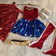 Wonder Woman Costume Outfit Halloween Superhero Dress Cape Headband Arm cuffs