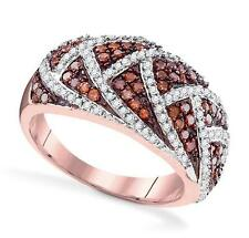 10K Rose Gold Red & White Diamond Cluster Ring Dome diamond Band .70ct Size 7