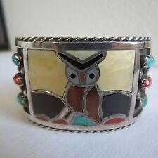 Owl Bird Multi Stone Zuni Cuff bracelet F. C. Gasper sterling  Silver MOP Coral