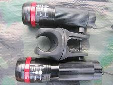 2 x Zoom Cree Taschenlampe FOCUS über 100m Leuchtweite + 1 Halter rot