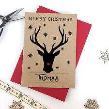 Luxury personalised kraft christmas card REINDEER STAG INDIVIDUAL NAME envelopes
