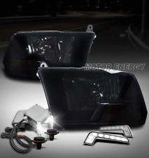 09-18 DODGE RAM 1500/10+ 2500 3500 HEADLIGHTS LAMPS BLACK/SMOKE W/DRL LED+6K HID