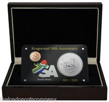 2017 South Africa 50th Anniversary Krugerrand Gold Silver 2 Coin Set Box Coa