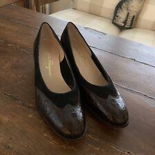 Salvatore Ferragamo Boutique ~ Black & Dark Brown~ Block Heels~ Sz 9A ~ Euc