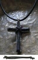 Kreuz Herrenkette schwarz neu Surf Necklace Leder Kreuzkette Männer Cross Kette