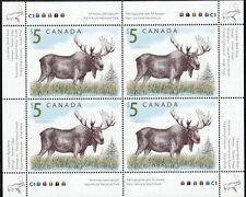 FAB RARE COLLECTOR'S UM 2004 CANADA $5 MAJESTIC MOOSE OF 4 MINT STAMPS BLOCK