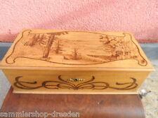 19055 Kästchen Schatulle Jugendstil groß Brandmalerei Nußbaum jewelery box nut