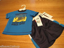 Boys baby 3-6 MO Months shorts t shirt set Puma NEW NWT blue aster active soccer