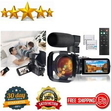 Video Camera Camcorder with Microphone Full HD Digital YouTube Vlogging Camera