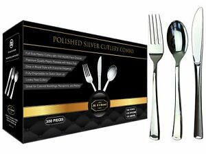 JL Prime 300 Pack Heavy Duty Disposable Silver Plastic Silverware Set for Party