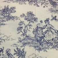 French Toile de Jouy Fabric Ink Blue Shade 100% Cotton Vintage Shabby Chic Style