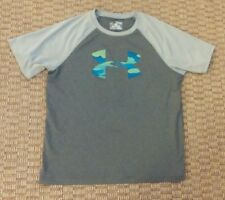 Under Armour boys heat gear loose fit gray t shirt size Youth Xl
