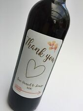 4 x THANK YOU Wine Bottle Labels Personalised Sticker Gift Wedding Birthday