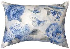 """Pillows - """"Garden In Blue"""" Indoor Outdoor Oblong Pillow - 18"""" X 13"""""""