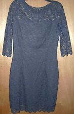 Women's Jennifer Lopez Slate Blue Lace Mid Sleeve Zipper Back Casual Dress 10