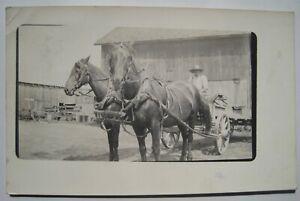 Horse Team, Farm Wagon Old 1914 RPPC Postcard; From Holt MI; near Lansing, Mason