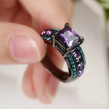 Lady/Women's Silver 14KT Black Gold Filled Amethyst Wedding Ring Gift size 8