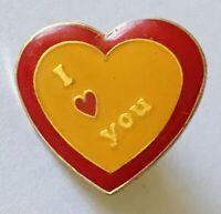 I Love You Pin Badge Heart Rare Vintage Novelty (E8)