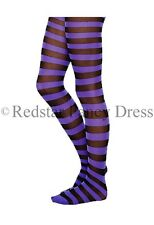 LADIES PURPLE AND BLACK STRIPED TIGHTS SKELETON HALLOWEEN FANCY DRESS ADULTS