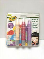 Crayola Shimmer Scent Stix 3 Scents Vanilla Coconut Floral Blossom Wild Berry