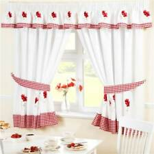 GINGHAM POPPIES KITCHEN CURTAINS / PELMET / SEAT PAD RED WHITE