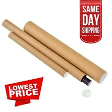 Cardboard Postal Tubes 490mm Long With Plastic End Caps A4 A3 A2 - 40 & 50mm Dia