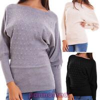 Maglione donna pullover maglia maniche pipistrello strass elastico nuovo 8855