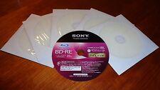 5 Sony BD-RE 25GB 2x Blu-ray Rewritable Printable Blank Discs w/Sleeves Repacked