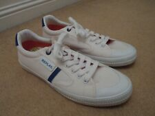 NEW REPLAY ITALY MOSCOW OFF WHITE & BLUE CASUAL RETRO SNEAKERS SHOES UK 10 EU 44
