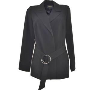 Blazer Giacca donna nera linea luxury con clip e cinturone in vita manica lunga