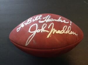 JOHN MADDEN SIGNED FOOTBALL. INSCRIBED SILVER PEN AUTO. THE DUKE. RAIDERS!