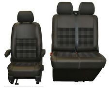 VW Transporter T6,T5 Front INKA Tailored Seat Cover Black Grey Leatherette Vin