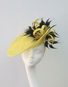 Yellow & Black Fascinator / Hatinator / Hat - Ascot, MOB, MOG