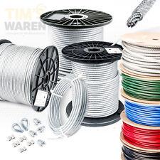 STAHLSEIL ummantelt PVC SET 2 Kauschen 4 Klemmen Seil Seile Drahtseil DIN 2-10mm