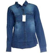 100% Cotton Denim Ladies Womens New Look Jeans Shirt Western Classic Fitted