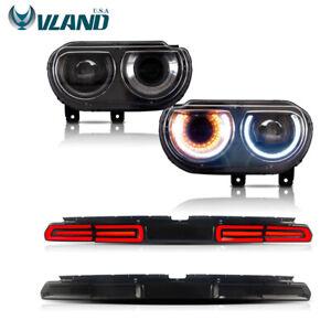 VLAND For Dodge Challenger 2008-2014 LED Headlights & LED Tail Lights 2 Sets