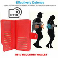 RFID Blocking Ladies Purse Wallet Clutch Credit Card Holder Phone Holder Leather