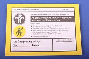 Anmeldezettel Abgasführung Kaminkehrer Schornsteinfeger Kaminfeger
