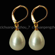 Wholesale Beautiful 12x16mm Natural White Shell Pearl Earring AAA C40235
