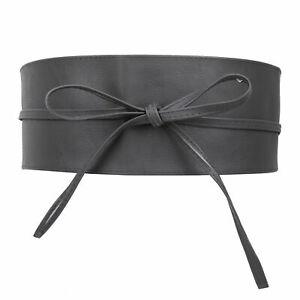 Womens Obi Belt Wide Waist Band PU Leather Cinch Tie up Corset Fashion One Size