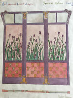 Dessin Étude Original Art Nouveau  Aquarelle Gouache Crayon Date 1912 Signé