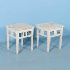 Pair of Antique Original White Painted Stools from Sweden