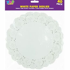 """40 x 9"""" Paper Party Doilies Doily Lace Doyleys Catering Wedding Coasters Round"""