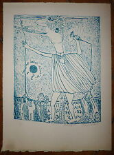 Aristide Caillaud Lithographie originale signée art brut art singulier abstract