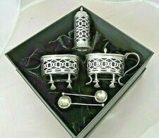 Antique solid silver ,condiment set . Houlson -1909 . Liners. Christmas  gift .