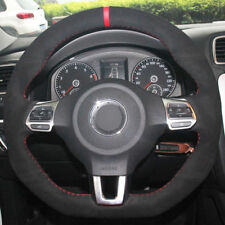 For VW Golf 6 GTI MK6 Polo Steering Wheel Cover DIY Hand-stitched Car Interior