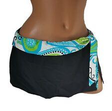 Swim Skirt L Large Black Skirted Bikini Bottom Floral 2 Bamboo 4553