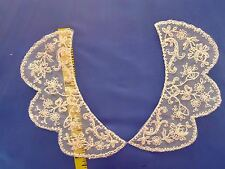 "Vintage Collar Embroidered Net Lace Applique Natural Beige 7""x 3"" #C2"
