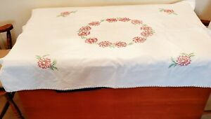 Vtg Antique Hand Embroidered Stitched Tablecloth ~Linen~Pink Flowers